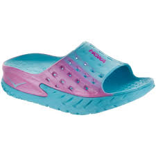 Latest Hoka One One Ora Recovery Blue Atoll Pink Slide Sandals For
