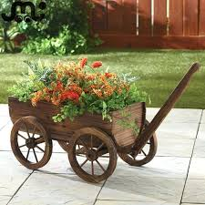 decorative garden wagon wheel flower cart suppliers and nostalgic 4 wheels slatted wooden