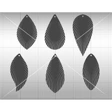 feather fringe earring svg dxf file tear drop svg vector leather earring cutting template for silhouette cricut and more