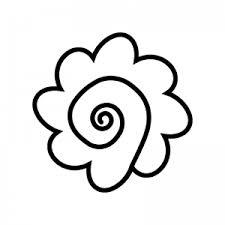 手書き風のはなまるのシルエット 無料のaipng白黒シルエットイラスト