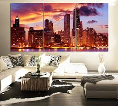 large wall paintingsLARGE Wall Art CANVAS Print 3 Panel Beautiful Chicago Skyline