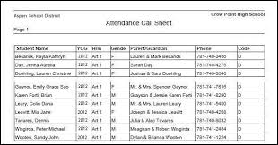 attandance list attendance call sheet