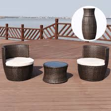 costway 3 pcs outdoor rattan stackable furniture set chair coffee table cushioned 0