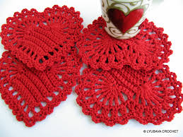 Crochet Decoration Patterns Crochet Pattern Red Heart Coasters Valentines Day Crochet