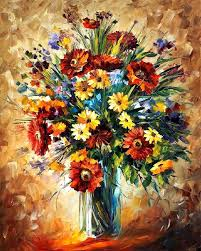 magic flowers palette knife oil painting on canvas by leonid afremov size 24