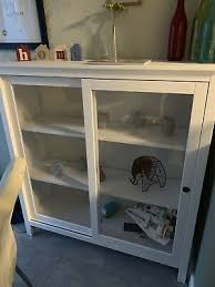 ikea hemnes glass door cabinet white vgc display cupboard sliding doors
