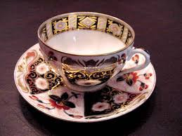 Decorative Cups And Saucers Germain Porcelain Tea Cup and Saucer in a Paneled Imari Pattern 8