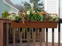 Hanging Planter Boxes For Decks Balconies With Various Flower Plants  Painted With Dark Brown Color Ideas