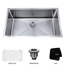 M KRAUS 32 Inch Undermount Single Bowl 16 Gauge Stainless Steel Kitchen Sink  With NoiseDefend