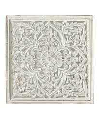 white fl carved wall décor