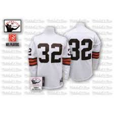 Ness Size And Authentic Nfl Cleveland Brown 46 Throwback 32 White Small Browns Mitchell Jim Jersey
