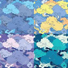 Asian Patterns Impressive Traditional Asian Seamless Patterns With Clouds And Sky 48 Color