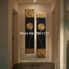 2018 hand painted modern abstract gold black oil painting large vertical textured wall decorative canvas art picture for living room from pureairr