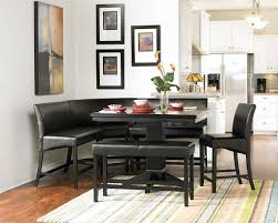 Furniture Sturdy Dining Table With Bench Black Metal Finish Dining
