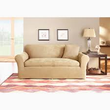 sure fit stretch suede bench cushion two piece sofa slipcover