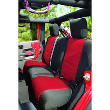rugged ridge rear seat cover neoprene black with red centers 4 door jeep wrangler jk