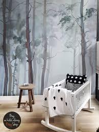 Natuur Bos Muur Muurschildering Peel En Stick Gloomy Bomen Etsy