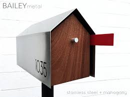 modern mailbox dwell.  Modern BAILY Modern Mailbox  Stainless Steel  Mahogany Photo 2 Of 10 In The Modern  Mailbox Throughout Dwell N