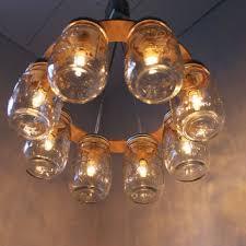 mason jar lighting fixture. WAGON WHEEL Mason Jar Chandelier - Light Industiral Mason Jar Lighting Fixture