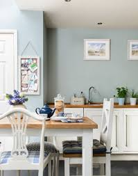 Need country kitchen decorating ideas? Take a look at this country-style  kitchen with duck egg blue walls and white cabinets. Find more kitchen  decora