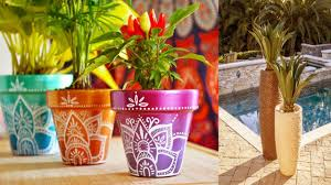 modern painting flower pots ideas decorating clay flower planters