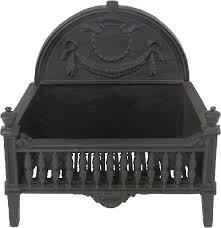 black cast iron basket grate with fireback