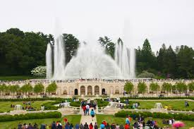 the revamped main fountain garden shows off its new technology four times a day