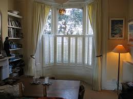 window shutters with curtains. Plain Curtains Simple Lined Linen Curtains On Bay Window Track With Cafe Shutters For  Privacy Throughout Window Shutters With Curtains