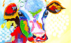 colorful cow painting acrylic tutorial beginner abstract lesson you