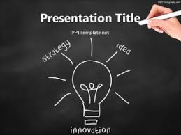 Chalkboard Ppt Theme Free Innovation Bulb Chalk Hand Black Ppt Template