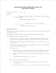 Sample Cleaning Contract Agreement Free Agreement Owner Contractor House Cleaning Templates At