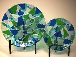 broken glass mosaics plate set