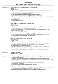 Quality Assurance Senior Manager Resume Samples Velvet Jobs