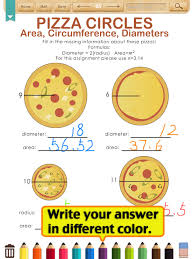 Circumference-worksheets & Finding Area Using Diameter