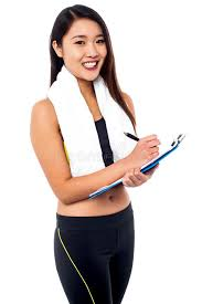 Female Dietitian Preparing Diet Chart Stock Photo Image Of