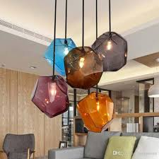 simple lamp stone glass pendant lights colorful indoor lighting the restaurant dining room bar ss e27 led light fixture pendants hanging lights from