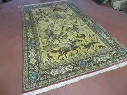 1 of 12 5 x 7 vintage hand made persian qum tabriz wool rug hunting tree of
