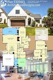 architectural designs house plan 93096el has a front courtyard and a veranda home plans