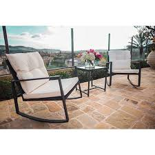 black wicker furniture. Suncrown Outdoor Rocking Wicker Bistro Set Black Furniture Two Chairs With