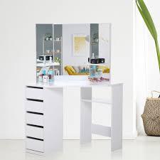 Corner Dressing Table Design Makika Corner Dressing Table Mirror Set Wooden Vanity 5