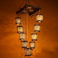 moorni barrel shaped chandelier with metal hanging shades in gleaming golden 10 shades