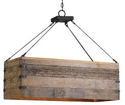 rustic wood rectangular box chandelier