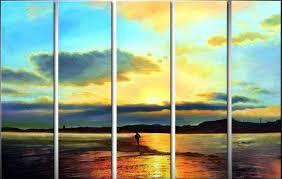 orange and blue sunset 5 pieces set painting