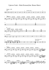 Uptown Funk Mark Ronson Ft Bruno Mars Drum Set Music Sheet