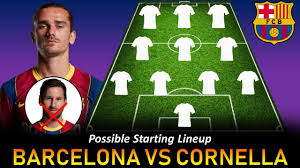 Barcelona Starting Lineup vs Cornella ...