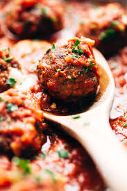 Cheese Stuffed Meatballs in Homemade Tomato Sauce Recipe | Little ...