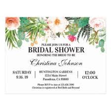 Photo Invitation Postcards Bridal Shower Invitation With Succulents Cactus Postcard