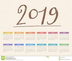 2019 Calendar Stock Vector Illustration Of Layout Agenda 123447494