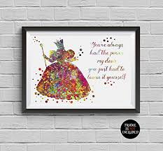 wizard of oz glinda the good witch watercolor print disney poster artwork wall art home decor on wizard of oz wall art with amazon wizard of oz glinda the good witch watercolor print