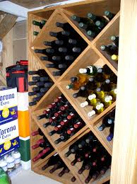 wine rack -- filled with bottles